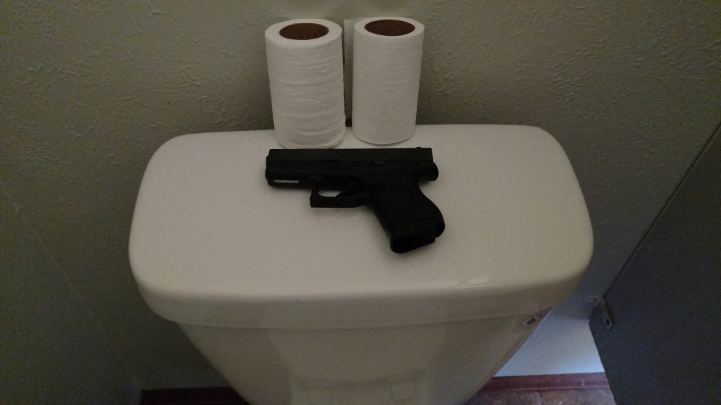 Where to Put Gun When In Bathroom